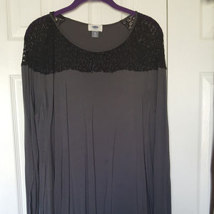 Grey Tunic with Lace Detail XL